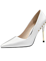 cheap -Women's Wedding Shoes Stiletto Heel Pointed Toe Beading / Rivet PU Minimalism Fall / Spring & Summer Black / Almond / Champagne / Party & Evening