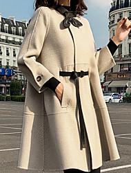 abordables -Femme Quotidien Normal Manteau, Pied-de-poule Revers en Pointe Manches Longues Polyester Noir / Beige