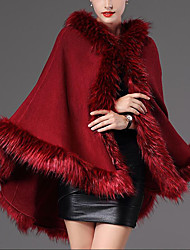 cheap -Sleeveless Coats / Jackets / Capes Faux Fur / Raccoon Fur Wedding / Party / Evening Women's Wrap With Solid / Fur