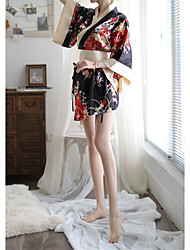 cheap -Women's Flower Uniforms & Cheongsams / Suits Nightwear Solid Colored / Embroidered Red Black One-Size
