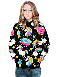 cheap -Kids Girls' Active Basic Unicorn Geometric Color Block Print Long Sleeve Hoodie & Sweatshirt Black