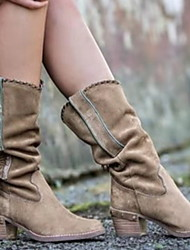 cheap -Women's Boots Comfort Shoes Chunky Heel Round Toe PU Mid-Calf Boots Winter Black / Khaki