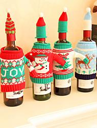 cheap -Christmas Decorations Set Of Red Wine Bottles Kitchen Santa Sacks