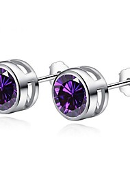 cheap -Hot Selling Women Earring Stud Shiny CZ Zircon Crystal Jewelry Stud Earrings with Round Clear Pink Purple Red AAA Zircon 2020