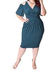 cheap -Women's Bodycon Dress - Solid Colored Black White Blue L XL XXL XXXL