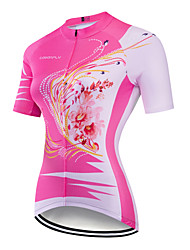 cheap -CAWANFLY Women's Short Sleeve Cycling Jersey Dark Pink Floral Botanical Bike Jersey Top Mountain Bike MTB Road Bike Cycling Breathable Quick Dry Back Pocket Sports Clothing Apparel / Advanced