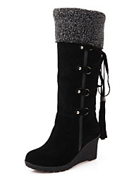 cheap -Women's Boots Wedge Heel Round Toe PU Mid-Calf Boots Winter Black / Brown / Beige