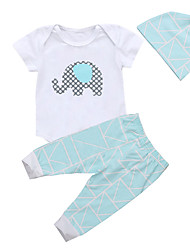 Χαμηλού Κόστους -Μωρό Αγορίστικα Καθημερινό / Ενεργό Στάμπα Στάμπα Κοντομάνικο Μακρύ Σετ Ρούχων Λευκό