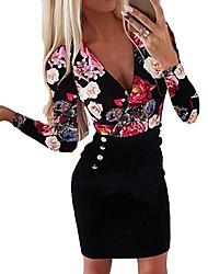 Недорогие -Жен. Большие размеры Облегающий силуэт Платье - Длинный рукав Цветочный принт С принтом кнопка С принтом Глубокий V-образный вырез Белый Черный Синий Красный S M L XL XXL XXXL