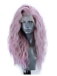 cheap -Synthetic Lace Front Wig Wavy Side Part Lace Front Wig Pink Long Pink Synthetic Hair 18-26 inch Women's Adjustable Heat Resistant Party Pink