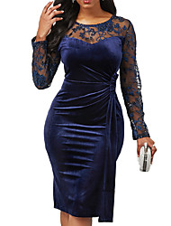 cheap -Women's Bodycon Dress - Solid Colored Navy Blue S M L XL