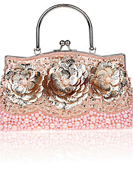 cheap -Women's Bags Synthetic Evening Bag Beading Embroidery Solid Color Wedding Bags Wedding Party Event / Party Black Red Blushing Pink Gold