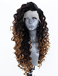 cheap -Synthetic Lace Front Wig Curly Side Part Lace Front Wig Ombre Long Ombre Black / Medium Auburn Synthetic Hair 18-26 inch Women's Adjustable Heat Resistant Party Ombre