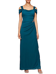 cheap -Sheath / Column Square Neck Floor Length Chiffon Short Sleeve Elegant & Luxurious Mother of the Bride Dress with Crystals / Ruching 2020