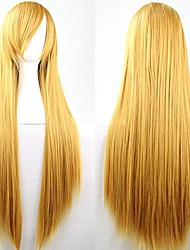 cheap -anime long straight hair women cosplay costume wigs 100cm (yellow)