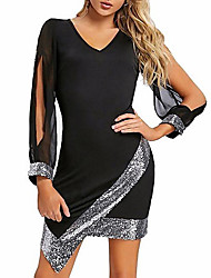 cheap -Women's Sheath Dress Short Mini Dress - Long Sleeve Color Block Solid Color Sequins Cut Out Glitter V Neck Sexy Going out Black Red Wine S M L XL XXL