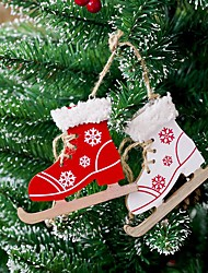 cheap -Christmas Tree Wooden Skates Ski Shoes Pendant Christmas Painted Decorative Pendant Wood Ornament Home Door Xmas Tree Decoration