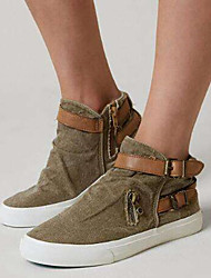 cheap -Women's Sneakers Flat Heel Round Toe Buckle Suede Vintage / Casual Spring &  Fall / Fall & Winter Black / Brown / Gray