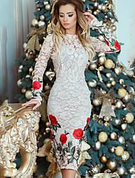 cheap -Women's Elegant Slim Sheath Dress - Floral White S M L XL