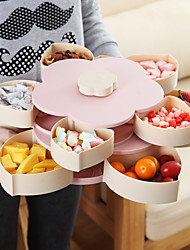 cheap -Creative Flower Petal Fruit Plate Candy Storage Box 5 Grids Nuts Snack Tray Rotating Flowers Food Gift Box for Party Wedding