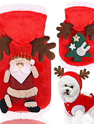 cheap -Dog Cat Hoodie Vest Christmas Christmas Dog Clothes Red / Green Red Costume Polyester Canvas Mixed Material XS S M L XL XXL