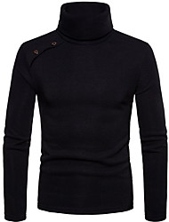 cheap -Men's Solid Colored Long Sleeve Pullover Sweater Jumper, Turtleneck Black / Green / Dark Gray M / L / XL