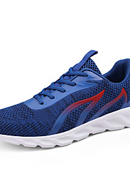 cheap -Men's Comfort Shoes Elastic Fabric / Tissage Volant Fall Sporty Athletic Shoes Running Shoes Non-slipping Color Block Black / White / Red