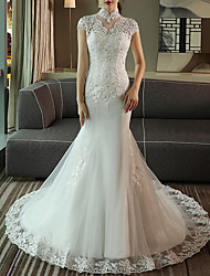 cheap -Mermaid / Trumpet High Neck Sweep / Brush Train Lace Cap Sleeve Made-To-Measure Wedding Dresses with Crystals 2020