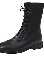 cheap -Women's Boots Cowboy / Western Boots Flat Heel Peep Toe PU Booties / Ankle Boots Fall & Winter Black