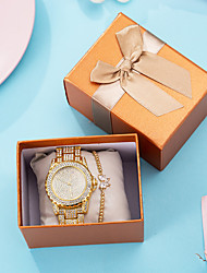 cheap -Women's Quartz Watches New Arrival Elegant Gold Stainless Steel Chinese Quartz Gold Chronograph Cute New Design 2pcs Analog One Year Battery Life
