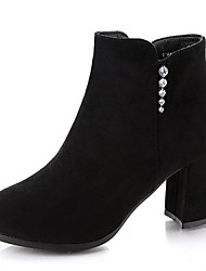 cheap -Women's Boots Chunky Heel Round Toe Suede Booties / Ankle Boots Winter Black