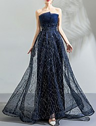 cheap -A-Line Sparkle Blue Prom Formal Evening Dress Strapless Sleeveless Sweep / Brush Train Tulle with Sequin Pattern / Print 2020