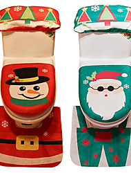 cheap -Christmas Bath Cover (3-Piece Set) Santa Claus Snowman Christmas Decorations For The Family Bath Market