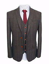 cheap -Brown windowpane wool custom suit