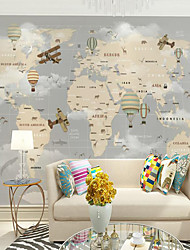 cheap -Nursery Mural Wallpaper Wall Sticker Covering Print Adhesive Required Cartoon World Map Home Décor Canvas