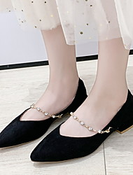 cheap -Women's Flats Flat Heel Pointed Toe Suede Winter Black / Almond