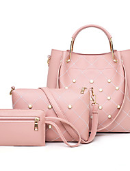 cheap -Women's Rivet / Pearls PU Bag Set 3 Pcs Purse Set Black / Brown / Blushing Pink