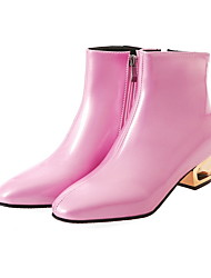 cheap -Women's Boots Chunky Heel Round Toe PU Booties / Ankle Boots Fall & Winter Black / Blue / Pink