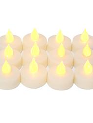 Недорогие -12 шт. 4 * 4 см пластиковые беспламенные светодиодные обету свечи на батарейках электрический чай свет реалистичные мерцающее пламя темная слоновая кость с 6 ч таймер на рождество украшение дома ну