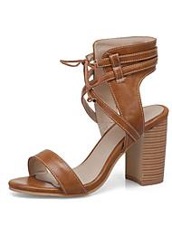 cheap -Women's Sandals Chunky Heel Open Toe PU Casual / British Summer Brown / Green / Beige / Party & Evening