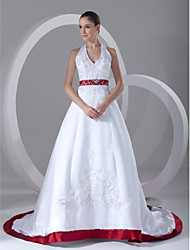 cheap -A-Line Halter Neck Chapel Train Satin Regular Straps Wedding Dresses with Sashes / Ribbons / Beading / Embroidery 2020