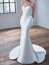 cheap -Mermaid / Trumpet Sweetheart Neckline Court Train Stretch Satin Strapless Modern / Elegant Wedding Dresses with Bow(s) / Ruched 2020