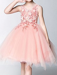 cheap -Princess Knee Length Flower Girl Dress - Polyester Sleeveless Jewel Neck with Appliques