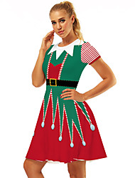cheap -Mrs.Claus Dress Women's Adults' Costume Party Christmas Christmas Polyester Dress