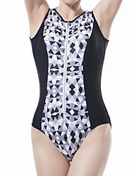 cheap -Women's Basic Black Halter Cheeky One-piece Swimwear Swimsuit - Abstract Print M L XL Black