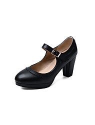 cheap -Women's Heels Chunky Heel Round Toe Stitching Lace PU Casual / Sweet Spring & Summer Black / White / Red