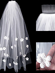 cheap -Two-tier Stylish / Artistic Style Wedding Veil Elbow Veils with Scattered Bead Floral Motif Style / Solid 75 cm Tulle / Straight Cut