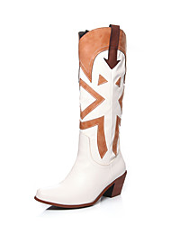 cheap -Women's Boots Chunky Heel Square Toe PU Knee High Boots Vintage / British Fall / Fall & Winter Black / White / Party & Evening