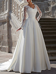 cheap -A-Line V Neck Sweep / Brush Train Satin Long Sleeve Wedding Dresses with Lace Insert 2020