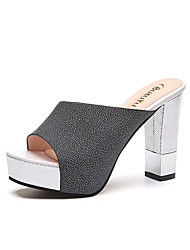cheap -Women's Heels Chunky Heel Open Toe Sequin Faux Leather / Patent Leather Casual / Minimalism Spring &  Fall / Spring & Summer Black / White / Pink